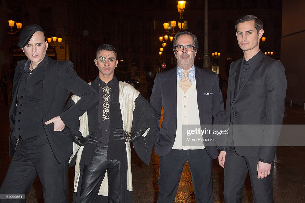 Ali Mahdavi (L) and guests arrive at the Alexis Mabille show as part of Paris Fashion Week Haute-Couture Spring/Summer 2014 on January 20, 2014 in Paris, France.
