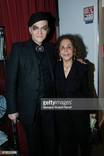 Ali Mahdavi and his mother attend the 22th Edition of ''Les Sapins de Noel des Createurs Designer's Christmas Trees' on November 17 2017 in Paris...