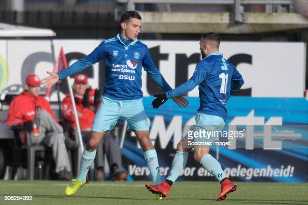 Ali Messaoud of Excelsior celebrates 2-2 with Stanley Elbers of Excelsior during the Dutch Eredivisie match between Sparta v Excelsior at the Sparta...