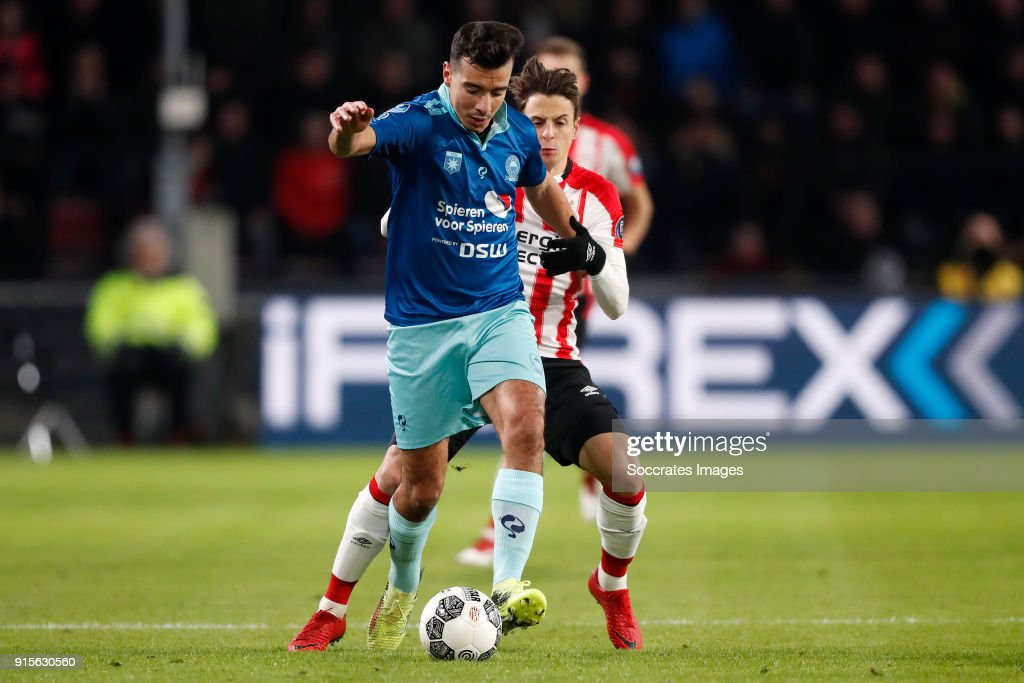 Ali Messaoud of Excelsior, Santiago Arias of PSV during the Dutch Eredivisie match between PSV v Excelsior at the Philips Stadium on February 7, 2018 in Eindhoven Netherlands