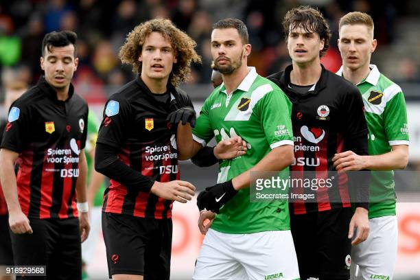 Ali Messaoud of Excelsior Wout Faes of Excelsior Mitchell te Vrede of NAC Breda Jurgen Mattheij of Excelsior Lucas Schoofs of NAC Breda during the...
