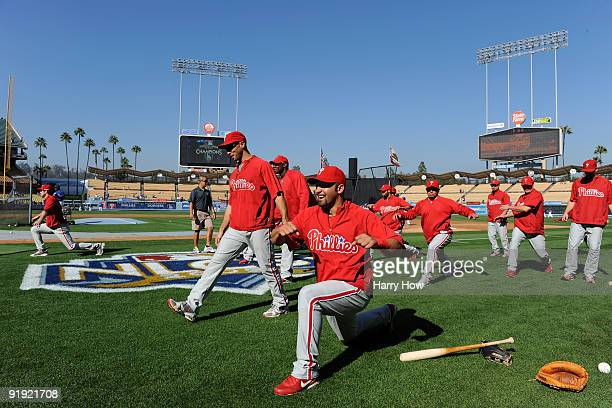 Ali Modami batting practice pitcher Raul Ibanez Ryan Howard Pedro Feliz Carlos Ruiz Shane Victorino and other Philadelphia Phillies stretch on the...