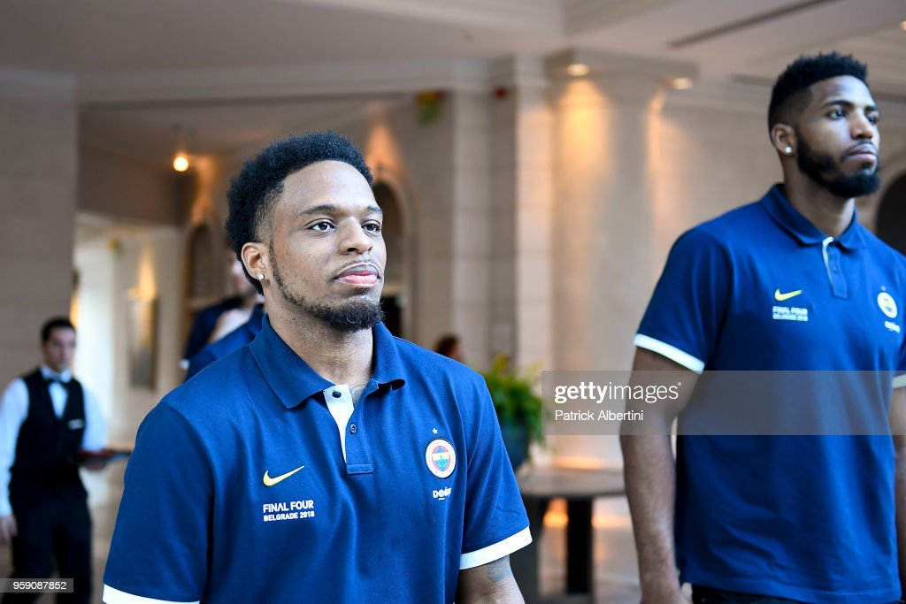 Ali Muhammed, #35 of Fenerbahce Dogus Istanbul and Jason Thompson, #1 of Fenerbahce Dogus Istanbul during the Fenerbahce Dogus Istanbul Arrival to participate of 2018 Turkish Airlines EuroLeague F4 at Hyatt Regency Hotel on May 16, 2018 in Belgrade, Serbia.