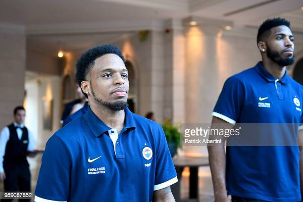 Ali Muhammed #35 of Fenerbahce Dogus Istanbul and Jason Thompson #1 of Fenerbahce Dogus Istanbul during the Fenerbahce Dogus Istanbul Arrival to...