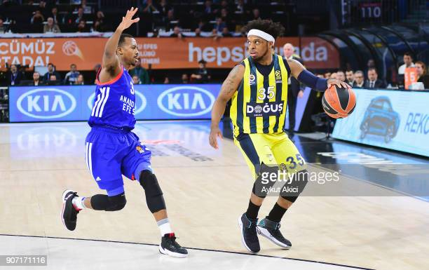 Ali Muhammed #35 of Fenerbahce Dogus Istanbul competes with Errick McCollum #3 of Anadolu Efes Istanbul during the 2017/2018 Turkish Airlines...