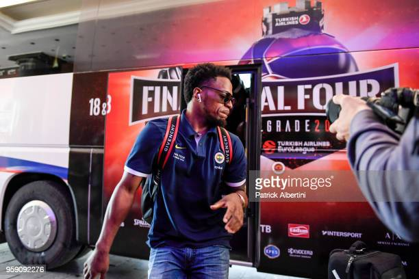 Ali Muhammed #35 of Fenerbahce Dogus Istanbul during the Fenerbahce Dogus Istanbul Arrival to participate of 2018 Turkish Airlines EuroLeague F4 at...