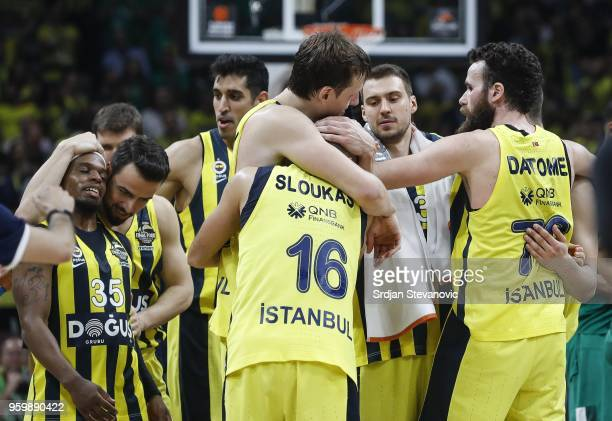 Ali Muhammed Melih Mahmutoglu Ahmet Duverioglu Jan Vesely Kostas Sloukas Marko Guduric and Luigi Datome of Fenerbahce celebrate after the Turkish...