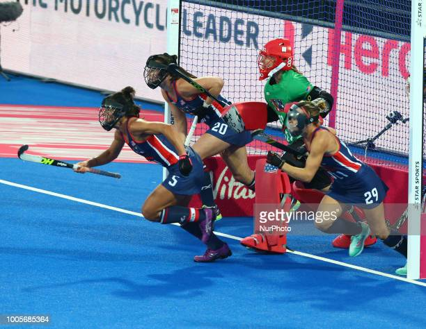 Ali of USA GONZALEZ Melissa of USA and MANLEY Alyssa of USA during FIH Hockey Women's World Cup 2018 Day Four match Pool B game 12 between USA and...