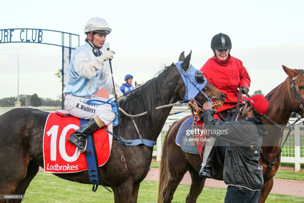 Ali Orphan (NZ) ridden by Kate Walters returns after winning the Ladbrokes Call Me BM64 Handicap at Sale Racecourse on May 15, 2018 in Sale, Australia.