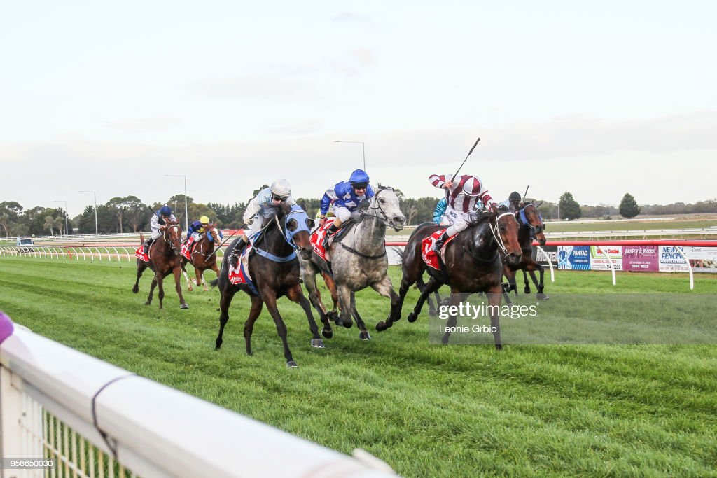 Ali Orphan (NZ) ridden by Kate Walters wins the Ladbrokes Call Me BM64 Handicap at Sale Racecourse on May 15, 2018 in Sale, Australia.