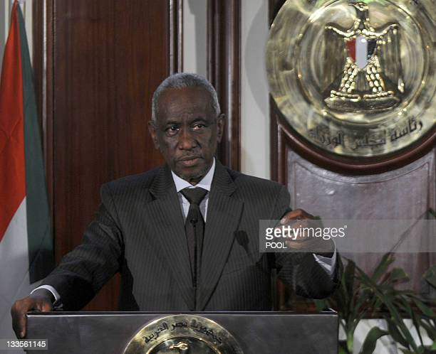 Ali Osman the Sudanese first deputy speaks to the press during a joint press conference with Egyption Prime Minister Essam Sharaf on October 11 in...
