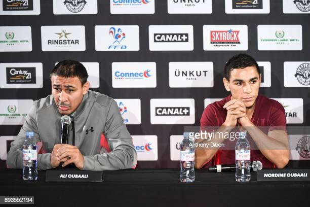 Ali Oubaali and Nordine Oubaali during press conference ahead the fight against Ali Baghouz on December 15 2017 in BoulogneBillancourt France