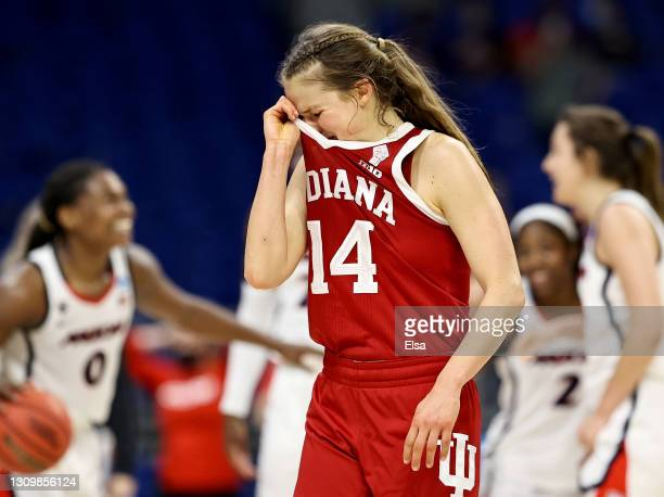 Ali Patberg of the Indiana Hoosiers walks off the court after the loss to the Arizona Wildcats during the Elite Eight round of the NCAA Women's...