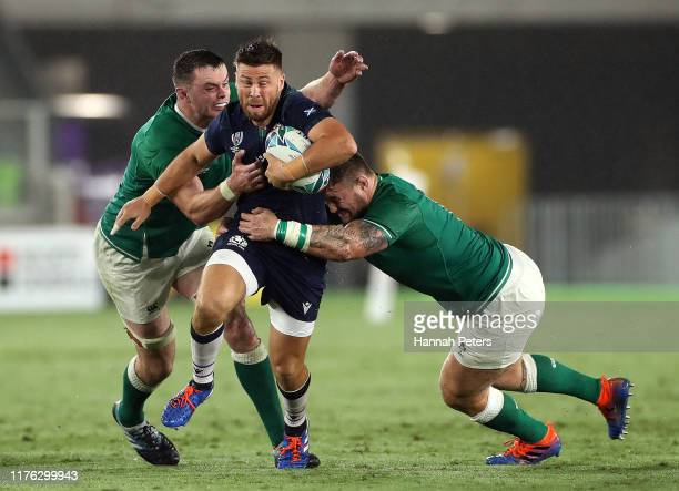 Ali Price of Scotland is tackled during the Rugby World Cup 2019 Group A game between Ireland and Scotland at International Stadium Yokohama on...