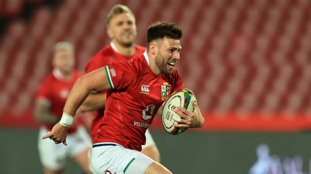JOHANNESBURG, SOUTH AFRICA - JULY 03: Ali Price of the British and Irish Lions breaks clear to score a try during the Sigma Lions v British & Irish Lions tour match at Emirates Airline Park on July 03, 2021 in Johannesburg, South Africa. (Photo by David Rogers/Getty Images)
