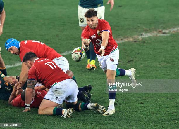 Ali Price of the Lions passes the ball during the 2nd test match between South Africa Springboks and the British & Irish Lions at Cape Town Stadium...