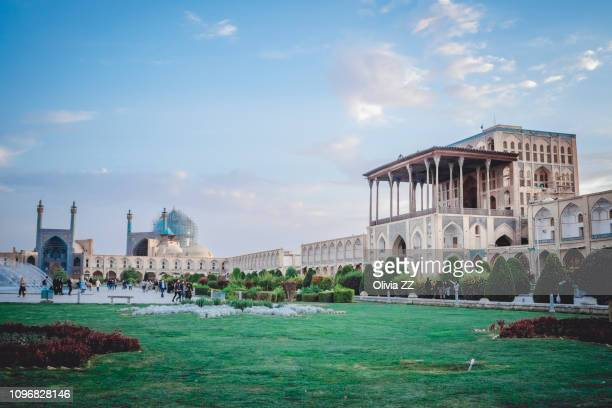 ali qapu palace, imam square, isfahan, iran - isfahan stock pictures, royalty-free photos & images