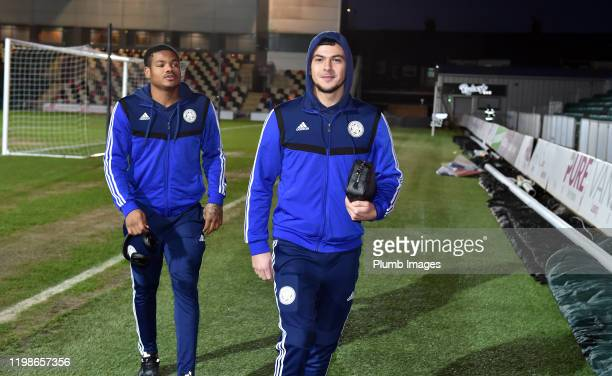 Ali Reghba of Leicester City arrives before the Leasingcom quarter final match between Newport County and Leicester City U21 at Rodney Parade on...