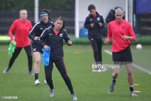 Ali Riley and team mates attend a New Zealand training session during the 2019 FIFA Women's World Cup France at Stade La Cavee Verte on June 10, 2019...