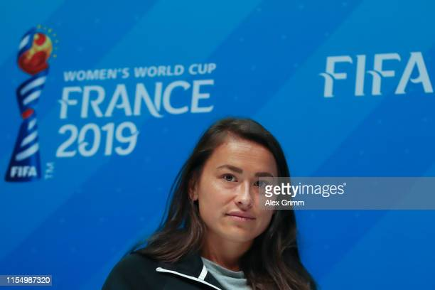 Ali Riley attends a New Zealand press conference during the 2019 FIFA Women's World Cup France at Stade Oceane on June 10, 2019 in Le Havre, France.