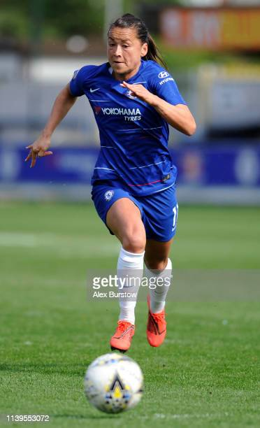 Ali Riley of Chelsea chases the ball during the FA Women's Super League match between Chelsea Women and West Ham United Women at Kingsmeadow on March...