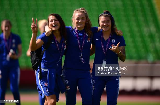 Ali Riley of Chelsea Erin Cuthbert of Chelsea and Ramona Bachmann of Chelsea during the UEFA Women's Champions League match between Sarajevo and...