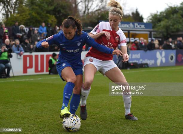 Ali Riley of Chelsea is challenged by Leah Williamson of Arsenal during the FA WSL match between Arsenal and Chelsea at Meadow Park on January 13...