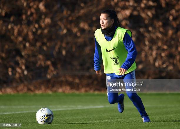 Ali Riley of Chelsea runs with the ball during a training session at Chelsea Training Ground on January 04 2019 in Cobham England