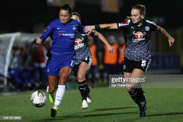 Ali Riley of Chelsea Women holds off the challenge of Molly Bartip of Reading Women during the Chelsea Women v Reading Women FA Continental Tyres Cup...