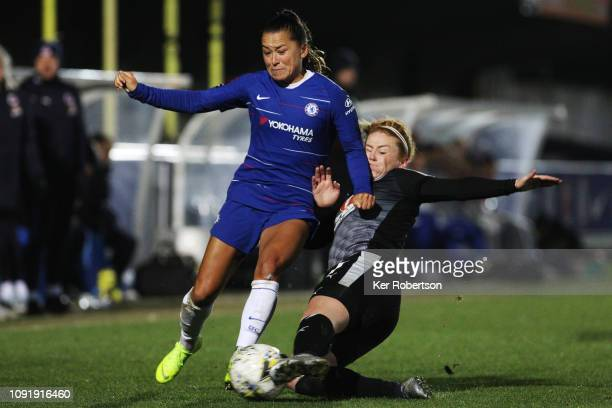 Ali Riley of Chelsea Women holds off the challenge of Rachel Furness of Reading Women during the Chelsea Women v Reading Women FA Continental Tyres...