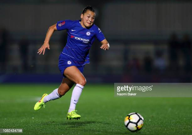 Ali Riley of Chelsea Women in action during the UEFA Women's Champions League Round of 16 1st Leg match between Chelsea Women and Fiorentina Womenat...