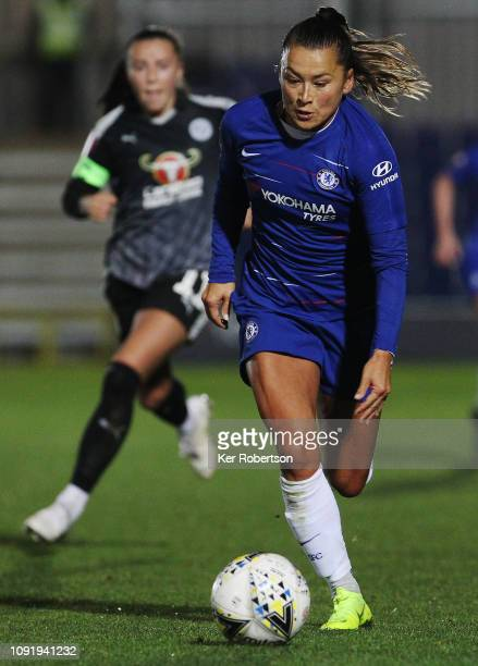 Ali Riley of Chelsea Women runs with the ball during the Chelsea Women v Reading Women FA Continental Tyres Cup match at The Cherry Red Records...