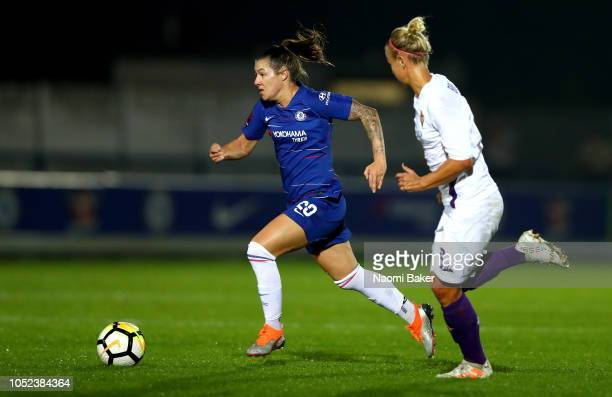 Ali Riley of Chelsea Women runs with the ball during the UEFA Women's Champions League Round of 16 1st Leg match between Chelsea Women and Fiorentina...