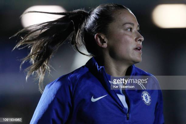Ali Riley of Chelsea Women warms up before the Chelsea Women v Reading Women FA Continental Tyres Cup match at The Cherry Red Records Stadium on...