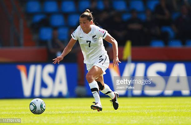Ali Riley of New Zealand controls the ball during the FIFA Women's World Cup 2011 Group B match between Japan and New Zealand at Rewirpower Stadium...