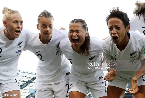 Ali Riley of New Zealand gives her team instructions during a team huddle prior to the 2019 FIFA Women's World Cup France group E match between...