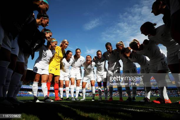 Ali Riley of New Zealand gives her team instructions during the team huddle ahead of the 2019 FIFA Women's World Cup France group E match between...