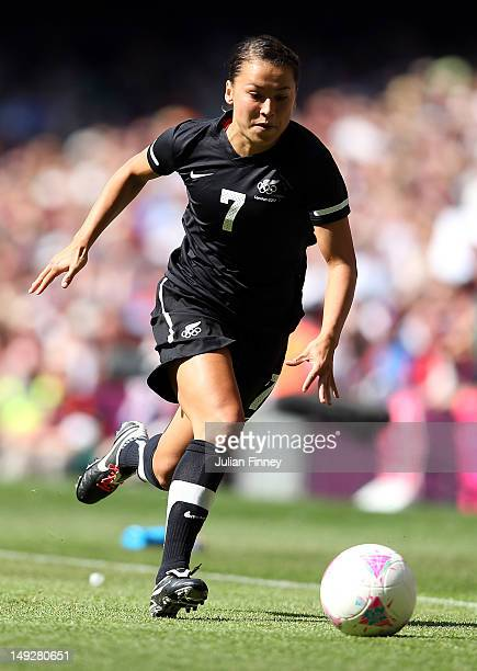 Ali Riley of New Zealand in action during the Women's Football first round Group E Match of the London 2012 Olympic Games between Great Britain and...