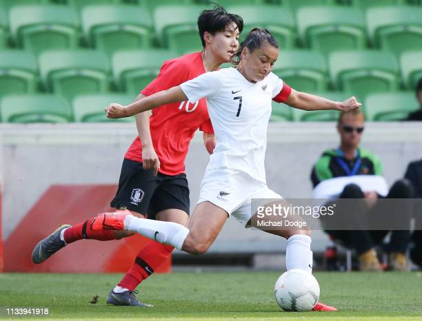 Ali Riley of New Zealand kicks the ball during the Cup of Nations match between the Korea Republic and New Zealand at AAMI Park on March 06, 2019 in...