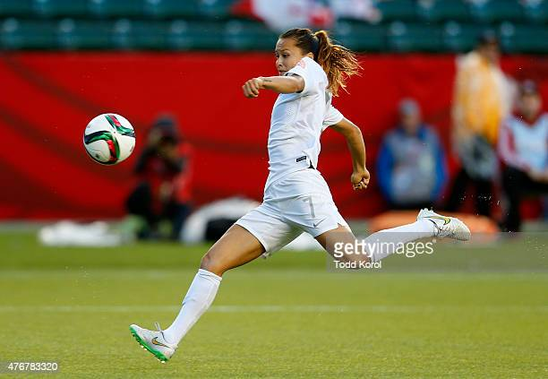 Ali Riley of New Zealand kicks the ball during the FIFA Women's World Cup Canada Group A match between Canada and New Zealand at Commonwealth Stadium...