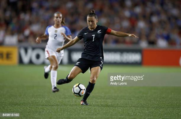 Ali Riley of New Zealand kicks the ball in the match against the USA at Nippert Stadium on September 19 2017 in Cincinnati Ohio