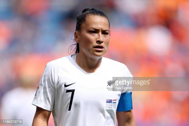 Ali Riley of New Zealand looks on during the 2019 FIFA Women's World Cup France group E match between New Zealand and Netherlands at on June 11, 2019...