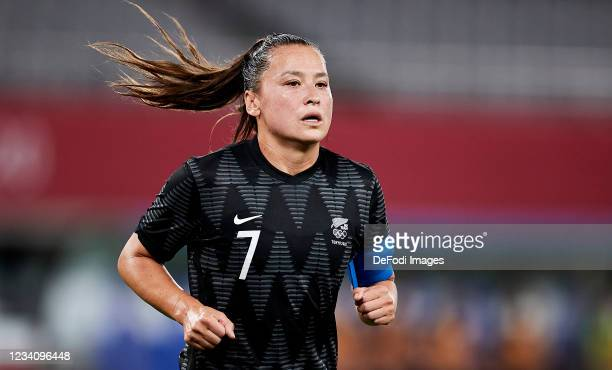 Ali Riley of New Zealand looks on in the Women's First Round Group G match between Australia and New Zealand during the Tokyo 2020 Olympic Games at...