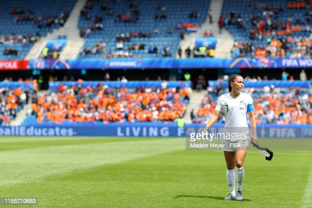 Ali Riley of New Zealand looks on prior to the 2019 FIFA Women's World Cup France group E match between New Zealand and Netherlands at on June 11,...