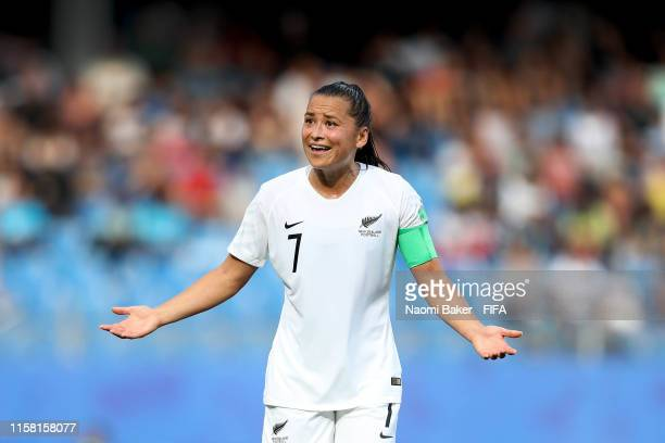 Ali Riley of New Zealand reacts during the 2019 FIFA Women's World Cup France group E match between Cameroon and New Zealand at Stade de la Mosson on...
