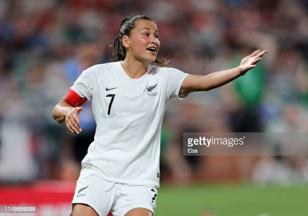 Ali Riley of New Zealand reacts in the second half against the Unites States at Busch Stadium on May 16, 2019 in St Louis, Missouri.