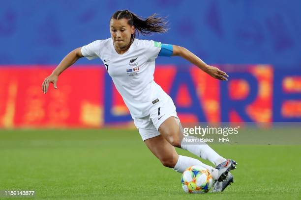 Ali Riley of New Zealand runs with the ball during the 2019 FIFA Women's World Cup France group E match between Canada and New Zealand at Stade des...
