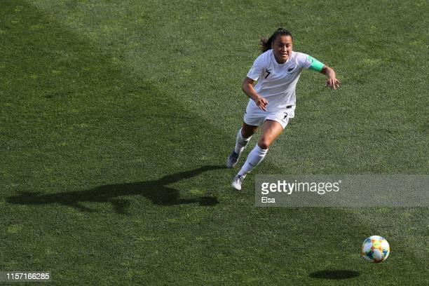 Ali Riley of New Zealand runs with the ball during the 2019 FIFA Women's World Cup France group E match between Cameroon and New Zealand at Stade de...