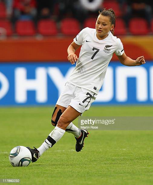 Ali Riley of New Zealand runs with the ball during the FIFA Women's World Cup 2011 Group B match between New Zealand and England at...