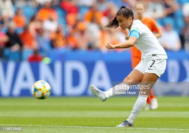 Ali Riley of New Zealand shoots during the 2019 FIFA Women's World Cup France group E match between New Zealand and Netherlands at on June 11, 2019...